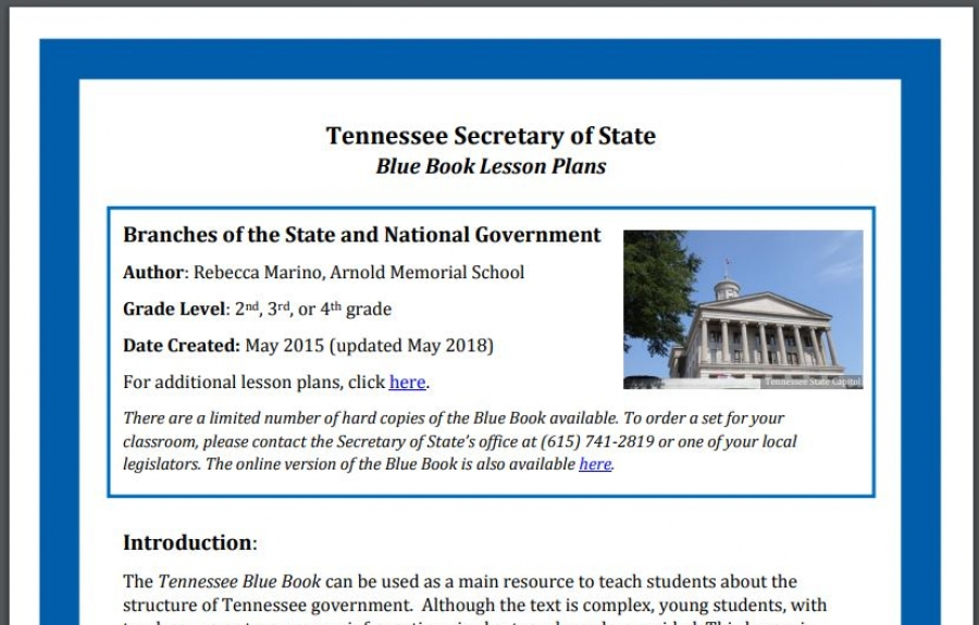 Tennessee Blue Book Lesson Plan