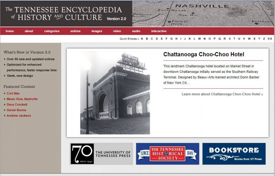 Screenshot of the Tennessee Encyclopedia of History and Culture