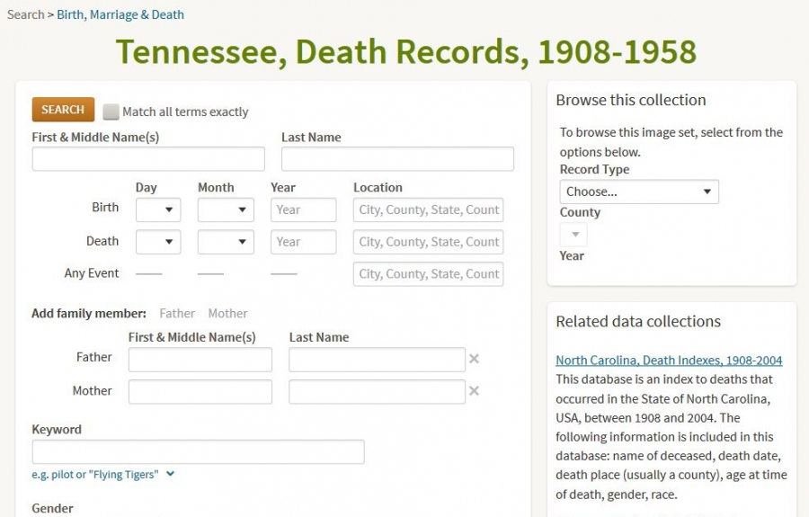 Screenshot of Tennessee Records on Ancestry.com