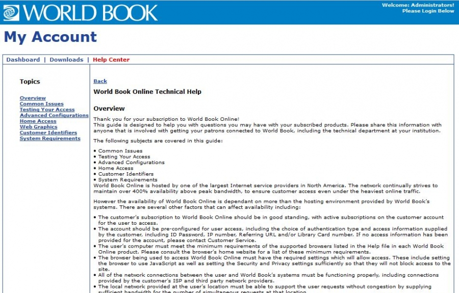 World Book Technical Support homepage