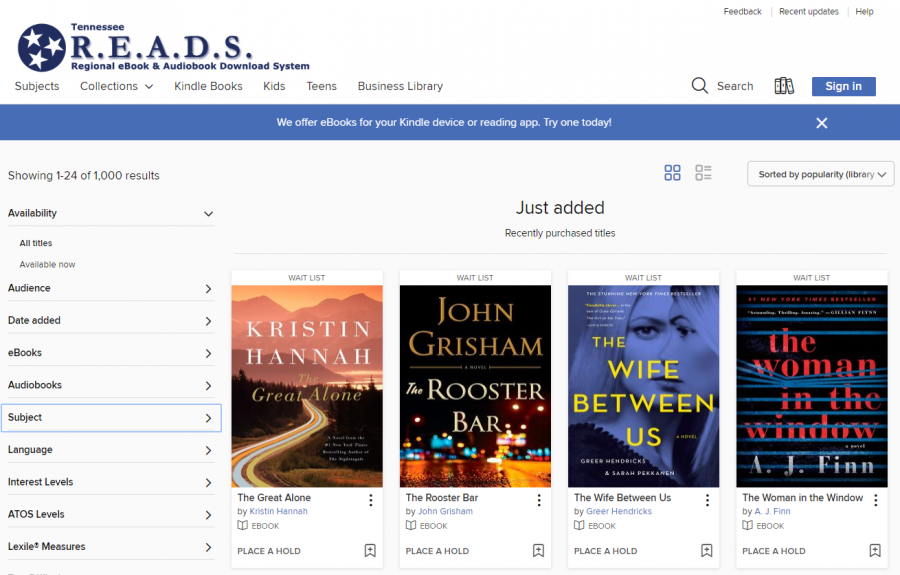 eBooks and Audiobooks screenshot