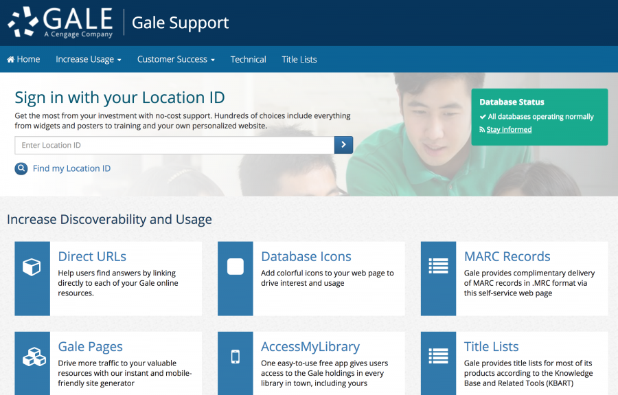 Gale Support homepage